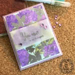 My Empty Nest Creations Purple Peony Card using The Ton's Peony Crush cling background stamp