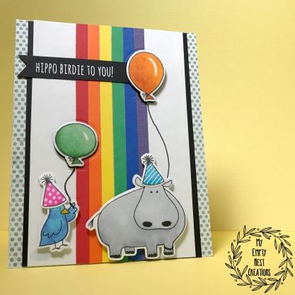 My Empty Nest Creations Hippo Birdie Card using Wish Big stamps/dies by Julie Ebersole