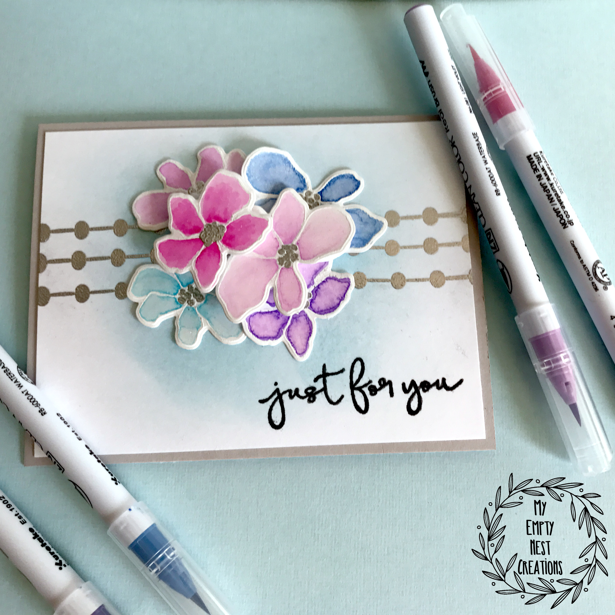 My Empty Nest Creations card using Simon Says Stamp Artsy Flowers
