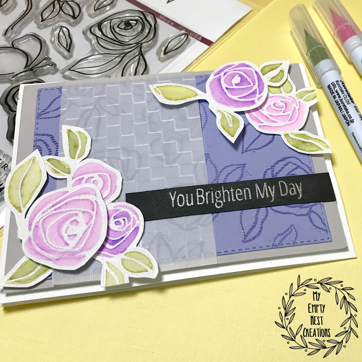 My Empty Nest Creations card using Altenew's Bamboo Rose Stamp Set