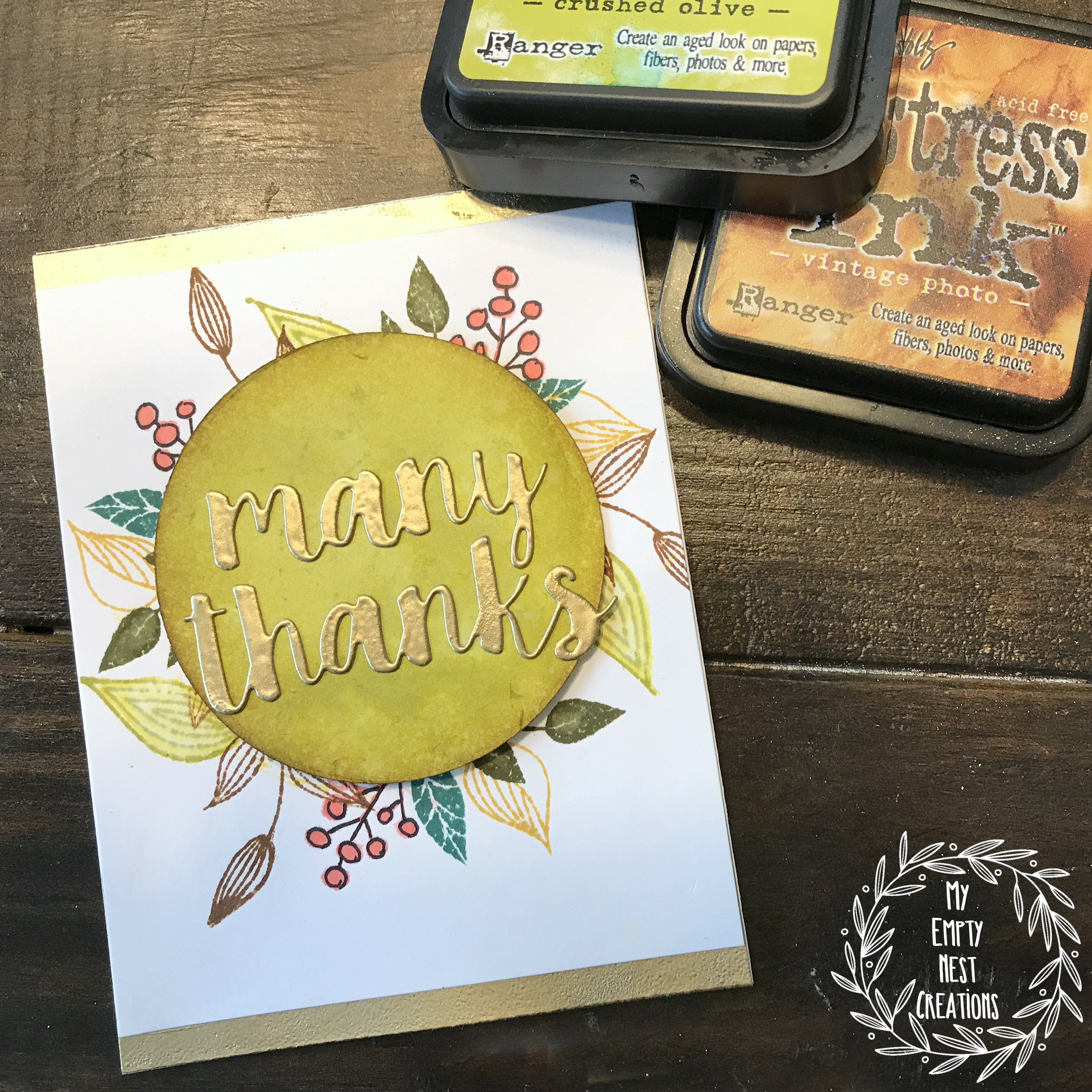 My Empty Nest Creations Stampendous Fronds Wreath Card