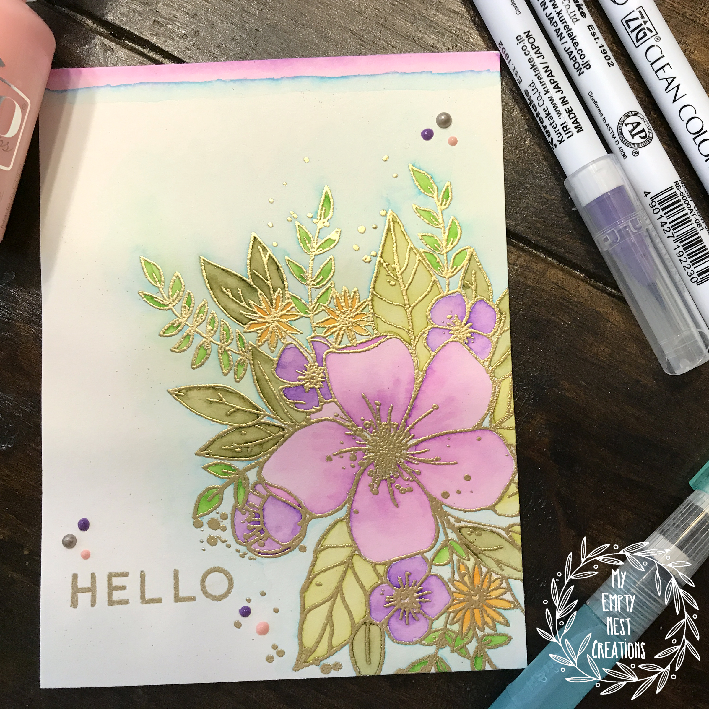 My Empty Nest Creations Card using Concord & 9th's Hello Lovely Stamp Set