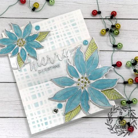 My Empty Nest Creations card using Ellen Hutson Mondo Poinsettia stamp set