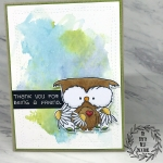 My Empty Nest Creations Unity Stamp Lil Bloomin Owl over Watercolor Background