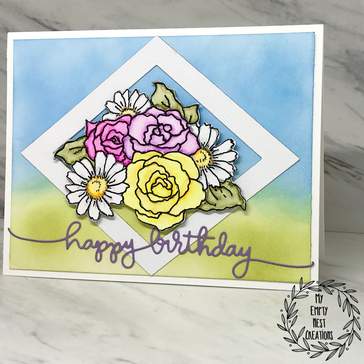 My Empty Nest Creations using Stampendous Hello Mason Jar set and Zig markers