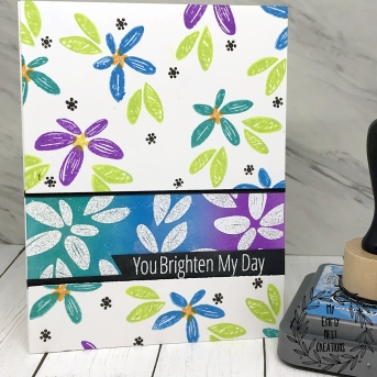 My Empty Nest Creations Bright Floral Card using W Plus 9 Happy Wishes stamp set