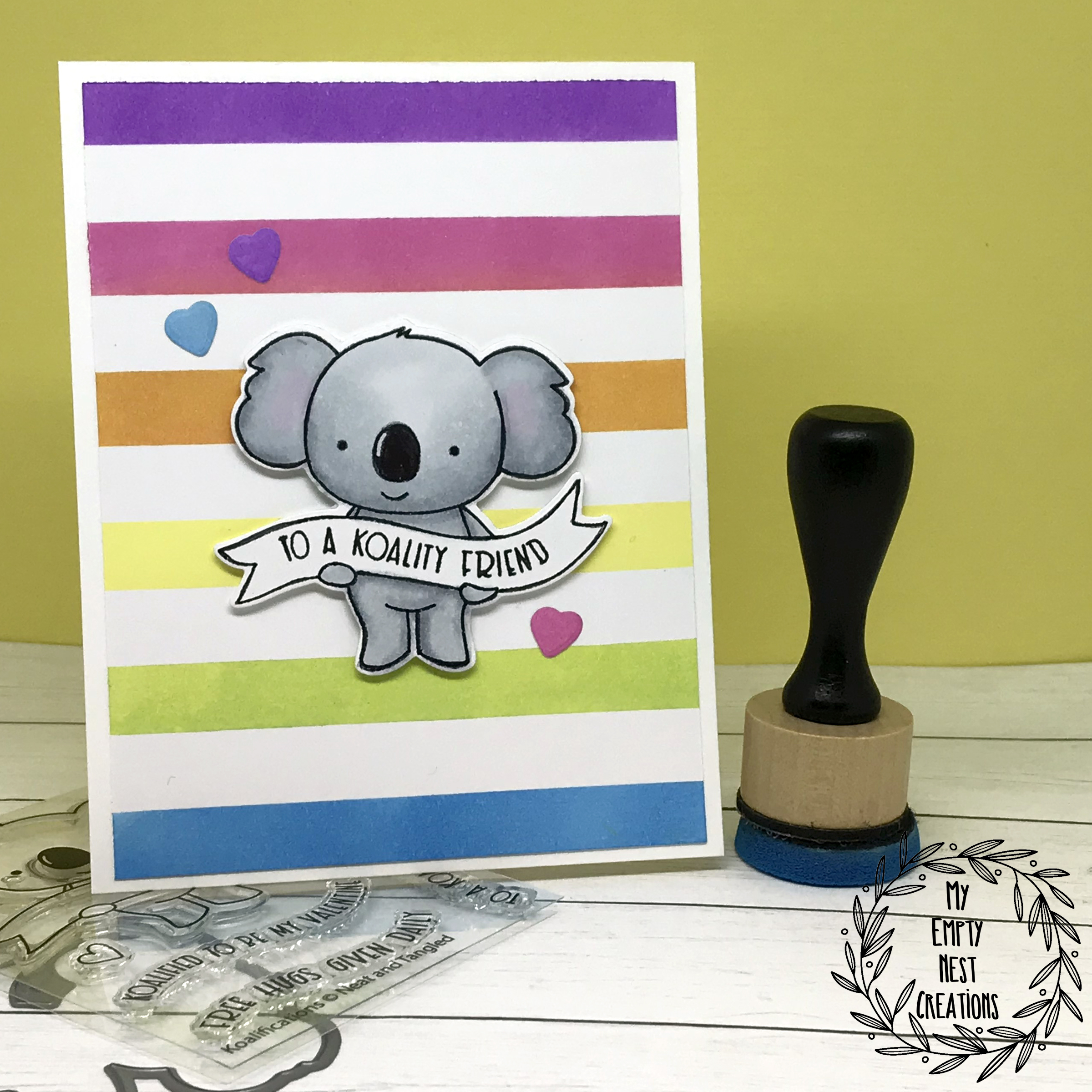 My Empty Nest Creations Rainbow Background Neat & Tangled Koalifications Card