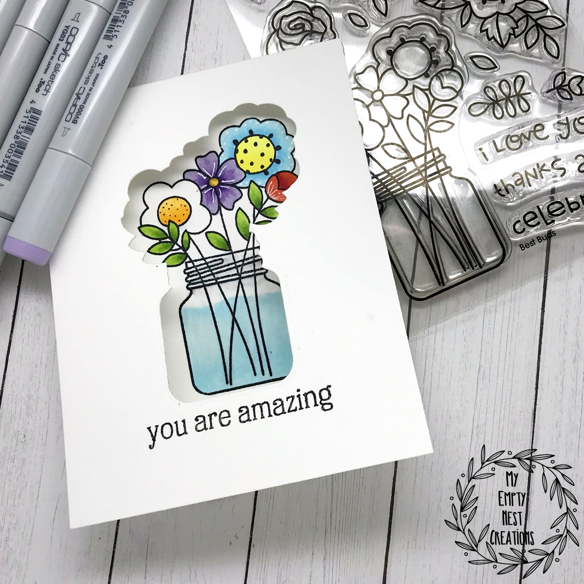 My Empty Nest Creations Cut Out window card using Paper Smooches Best Buds stamps and dies