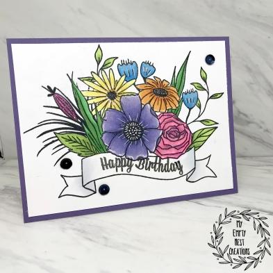 My Empty Nest Creations Birthday Card using Altenew's Happy Bloom set