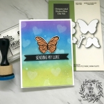 My Empty Nest Creations Ink Blended Heart Bokeh Butterfly Card