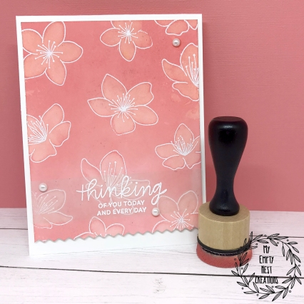 My Empty Nest Creations Water Painting with Distress Oxides and Pretty Pink Posh's Cherry Blossoms stamp set.