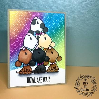 MyEmptyNestCreations Rainbow Background Card Using Gerda Steiner Designs Howl Are You? stamp set