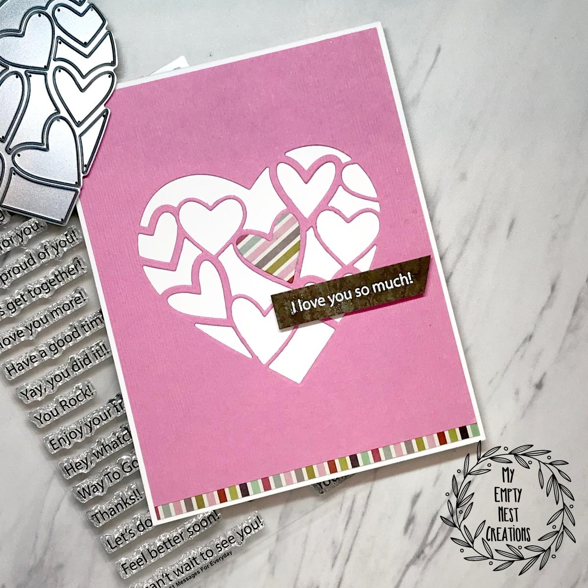 My Empty Nest Creations Valentine using Poppystamps Inlay Heart Die
