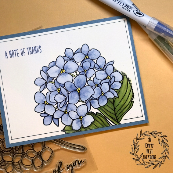 My Empty Nest Creations Thank You Card Using the Mondo Hydrangea Stamp Set